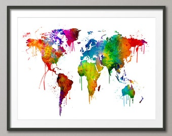 Watercolor Map of the World Map, Art Print (2462)
