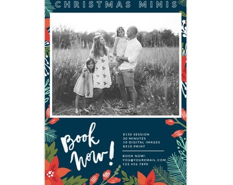 INSTANT DOWNLOAD - Holiday Mini Session template - Photoshop template - E1387
