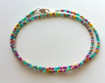 "Super Tiny ""Mardi Gras"" Mix Tiny Seed Bead Necklace, Multi-Color Seed Bead Choker, Turquoise and Multi Tiny Seed Bead, Choose a Length"