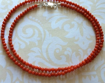 Tiny Bamboo Coral Necklace, 2mm Red Coral Beaded Necklace, Light Red Bamboo Coral Necklace, Red-Orange Stone Necklace