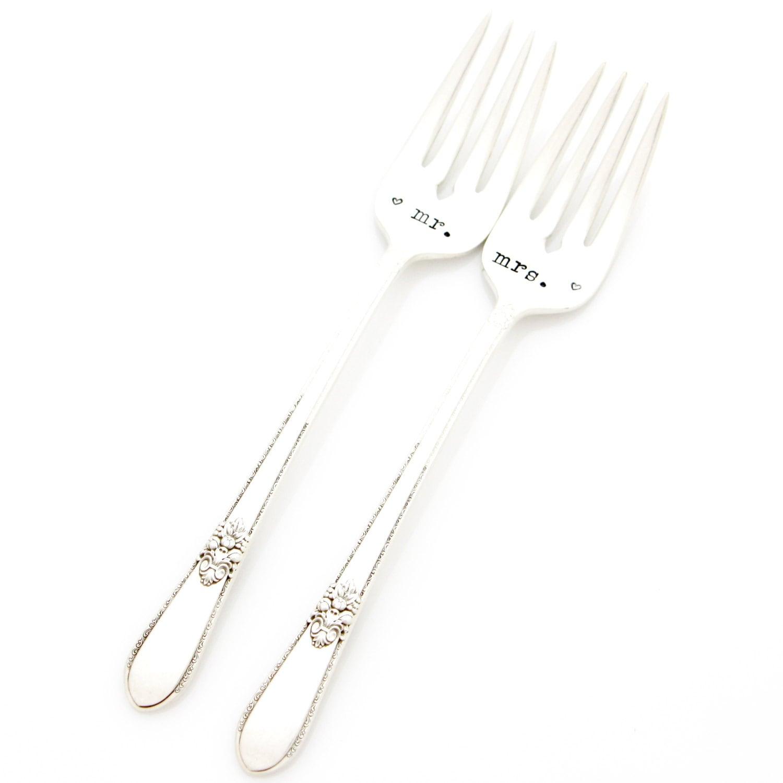 Wedding Shower Gift. Mr And Mrs Wedding Forks. Hand Stamped