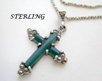 Sterling Silver Vintage Cross Pendant Necklace