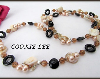 Cookie Lee Necklace - Sea Shell Pearl - 32 Inch Long Strand