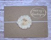 45% Off Ivory Pearl Shabby Flower Headband/ Newborn Headband/ Baby Headband/ Flower Girl/ Wedding/ Photo Prop