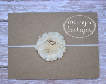 45% Off Ivory Pearl Shabby Flower Headband/ Newborn Headband/ Baby Headband/ Flower Girl/ Wedding/ Photo Prop