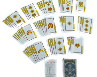 Militaire Army Card Game Playing Cards JC Dusserre Boechat Freres Vintage Playing Cards Vintage Aeronautica Vintage Transportation