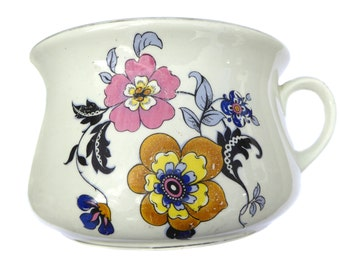 1960s Clough's Royal Art Pottery Chamber Pot Floral Decorated Vintage Planter Vintage Potty Vintage Chamber Pot Vintage Gazunder
