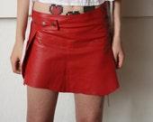 Red mini skirt, adjustable mini skirt, Burning man outfit, goddess mini skirt, OOAK, leather skirt