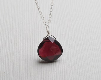 Rhodolite Garnet Necklace, Garnet Necklace, Rose Red Gemstone Necklace, January Birthstone, Healing Gemstone
