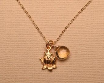 Lotus Charm Necklace, Gold Lotus Necklace, Lotus Citrine Necklace, Healing Gemstone Jewelry, Yoga Charm Necklace, November Birthstone