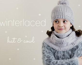 CROCHET PATTERN BUNDLE: Winterlaced Hat & Cowl (2 pdf patterns)