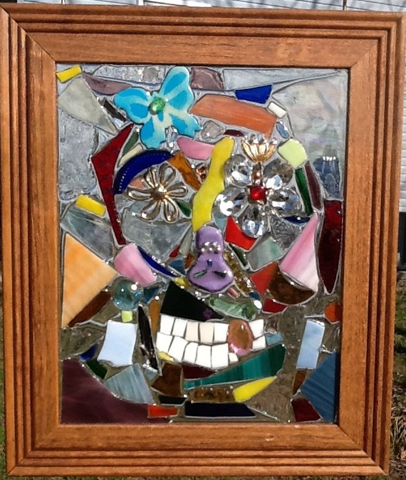 Sugar Skull Mosaic Window Art Suncatcher Handcrafted OOAK