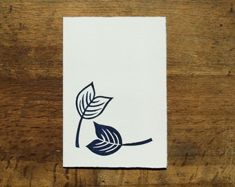 Single, hand printed leaf card, dark blue