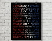 Printable Les Miserables Musical Digital Subway Art Typography Poster Decoration 11x14 and 8x10