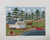 KIT - Camping by the Lake with Trailer -  Counted Cross Stitch