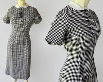 50s Wiggle Dress Black White Houndstooth Check Peter Pan Collar Mad Men Party