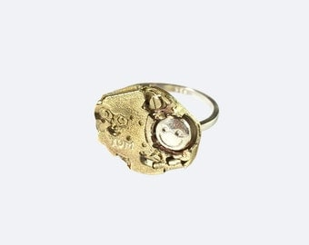 Steampunk Personalized Hand Engraving Brass Movement Silver Ring - MoveSmile