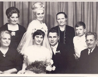 Vintage Wedding Photo - The Bride and Groom With Family- Poland 1960s - Real Photograph Black & White