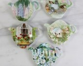 Tea Bag Holder Set of Five- Cottage Garden Themed Melamine Plastic- Shaped like teapots- Vintage- Made in Italy