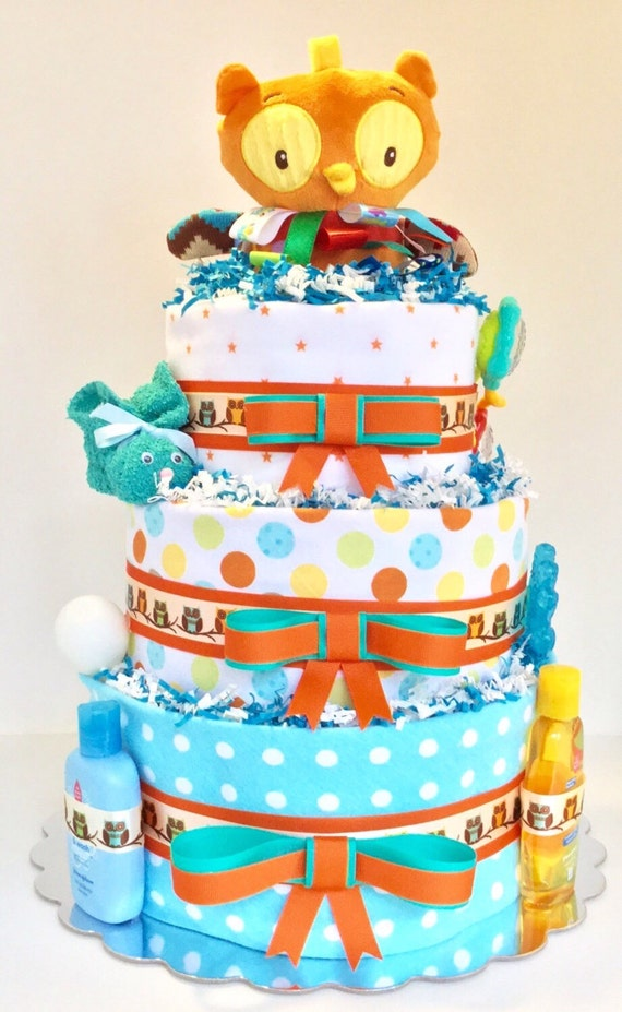 Owl Diaper Cake Decorations : Owl Diaper Cake 3 Tier Diaper Cake Baby Shower by ...