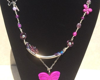 Purple Butterfly Beaded Necklace