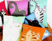 Choose Your Cat Butt Pillow / Choose from 6 Different Cats / Funny Illustration / Original Art / Colorful