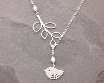 Bird Lariat, silver bird necklace, branch lariat, silver leaf lariat, bird necklace, silver leaf necklace, mom necklace, holiday, N9