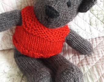 Pure Wool Traditional Teddy Bear. Hand Knit. Woollen Sweater.Brown Bear. Red Jumper. Pure Wool . Stitched Features