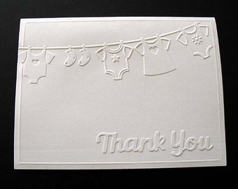 Embossed Baby Shower THANK YOU Cards