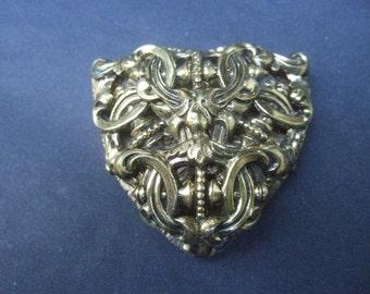 Ornate Repousse Gilt Metal Fur Clip Brooch