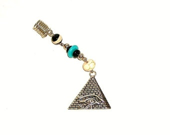 Dreadlock Jewelry - Antique Silver Pyramid Eye of Horus Loc Jewel