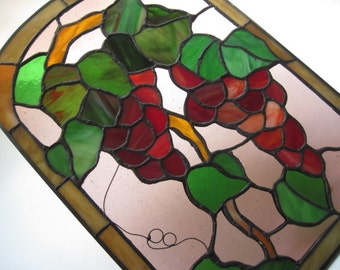 Vintage Stained Glass Grapes and Vines Window or Wall Hanging