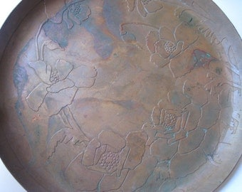 Antique Craftsman Carence Crafters  Copper Acid Etched Floral Plate Charger or Tray