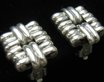 "Rare WEISS Sterling Silver Earrings are 3/4"" H x 9/16"" W Rectangles with Ribbed Sections and Clip Backs."