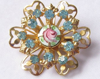 "CLEARANCE Rhinestone & Guilloche Dimensional Floral 1-9/16"" Vintage Brooch in Shades of Aqua and Pink on Gold."
