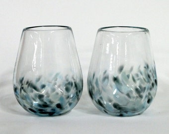 Set of Two-Hand Blown-Stemless Wine Glasses