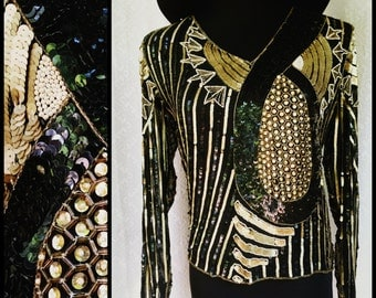 Vtg Black and Gold Sequin Art Deco Abstract Trophy Blouse - Sheer Long Sleeves - Heavily Sequined Trophy Top - Womens Medium 38-inch Bust