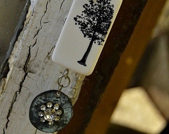 Elegant Tree Domino Pendant Necklace