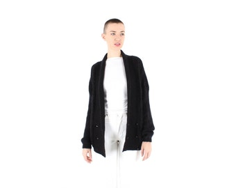 Minimal 80s MOHAIR + WOOL Slouchy Oversized Black Knit Grunge Cardigan / Sweater Dress