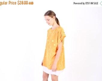 10,000 LIKES 7 Day Sale 80s Apricot Boxy Polka Dot Tee T Shirt Minimal Mini Dress / Top