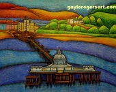 Llandudno Pier art print A3 from Original Drawing by Gayle Rogers Made in Wales