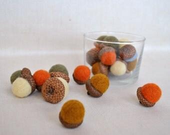 21 wool acorns ornaments rustic fall natural colors decoration felt acorn Thanksgiving decor