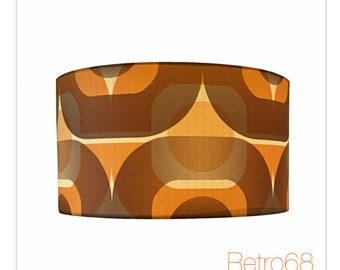 Extra tall vintage retro 70s brown graphic lamp shade light retro 70s orange brown geometric wallpaper lightshade lampshade various sizes aloadofball Gallery