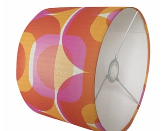 Retro 70s Pink & Orange Geometric Wallpaper Lightshade Lampshade 30cm