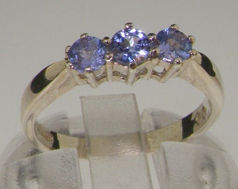 Solid 925 Sterling Silver Genuine 3 Tanzanite Trilogy Ring, Modern Tanzanite Stackable Ring, Anniversary Ring - Customizable