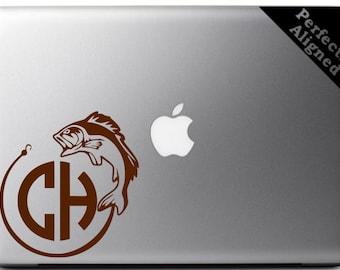 Custom Fishing Design with Monogram Vinyl Decal for Macbook, Laptop, Car, Ipad, hunting decal, fishing sticker, camping design, etc...