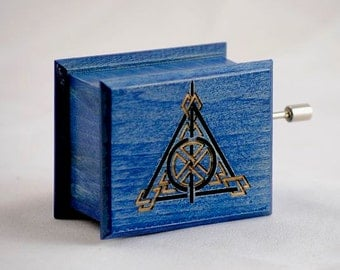Harry Potter Deathly Hallows music box blue - soundtrack and design inspired handmade wooden music box