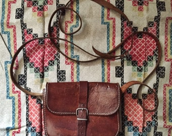 Rustic & Charming Small Vintage Everyday Leather Crossbody Bag