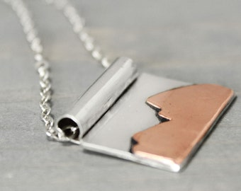 Grand Tetons Necklace, Landscape Necklace, Mountain Range Necklace, Silver Mountain Necklace Sterling Silver, Jackson Hole, Jackson Jewelry