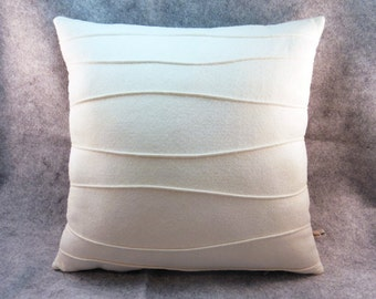 White Wool Felt Pillow, Decorative Pillow with Ribbing, 16 x 16, 18 x 18, 20 x 20